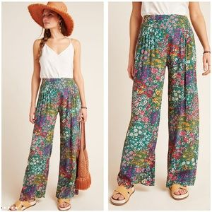 Anthropologie Floral Wide-Leg Pants
